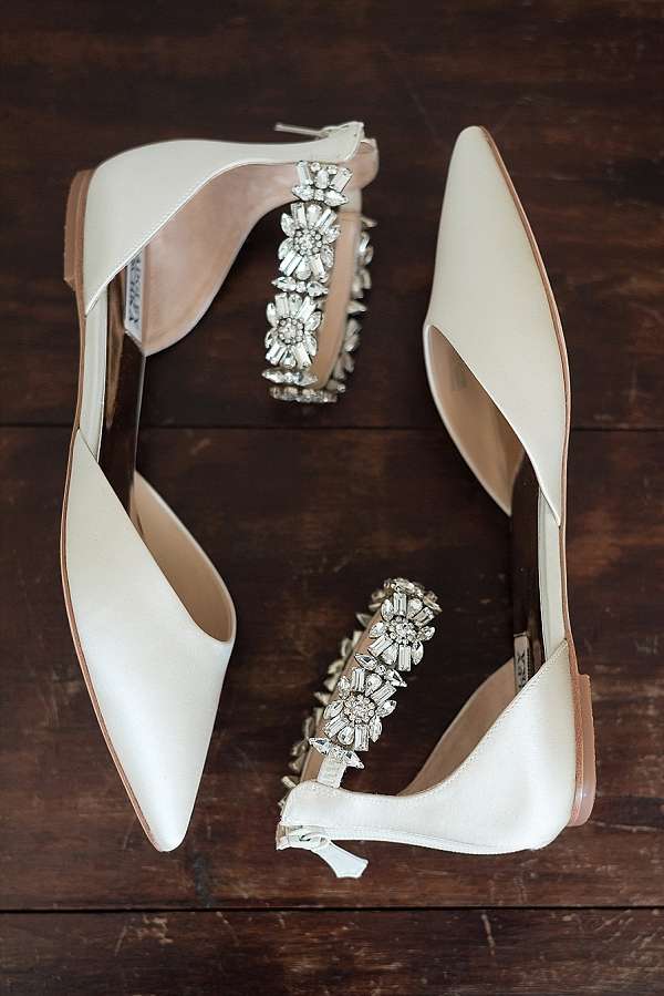 Badgley Mischka sparkly bridal flats