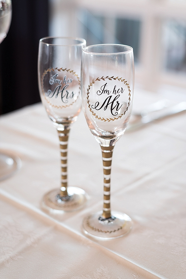 Adorable matching wedding toasting glasses