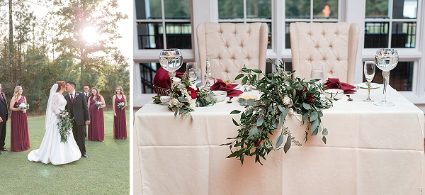 Sweetheart table with eucalyptus centerpiece
