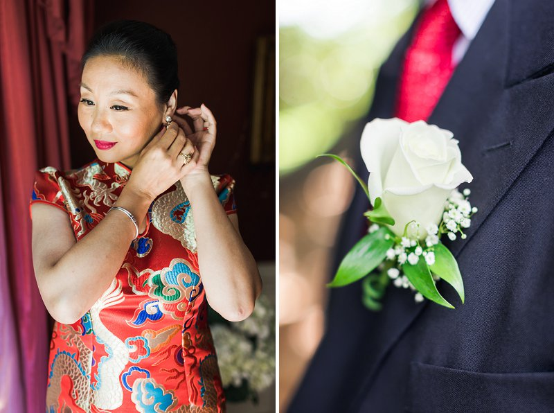 Beautiful bride wearing a traditional red Chinese dress qipao