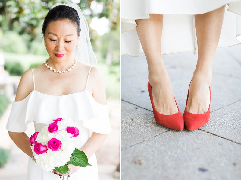 Elegant Chinese bride wearing red wedding shoes