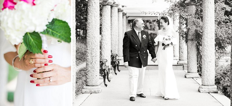 Romantic wedding moment between bride and groom at Maymont park in Richmond Virginia