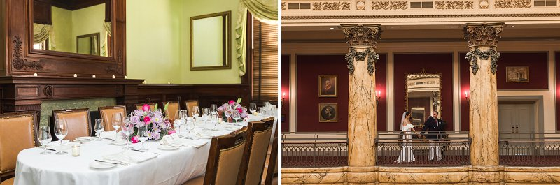 Intimate wedding reception dinner at the Jefferson Hotel