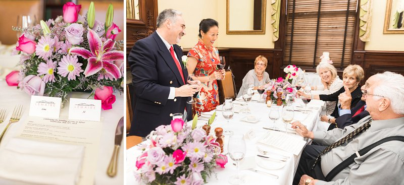 Intimate wedding reception dinner at LeMaire at the Jefferson Hotel for a sweet celebration for bride and groom