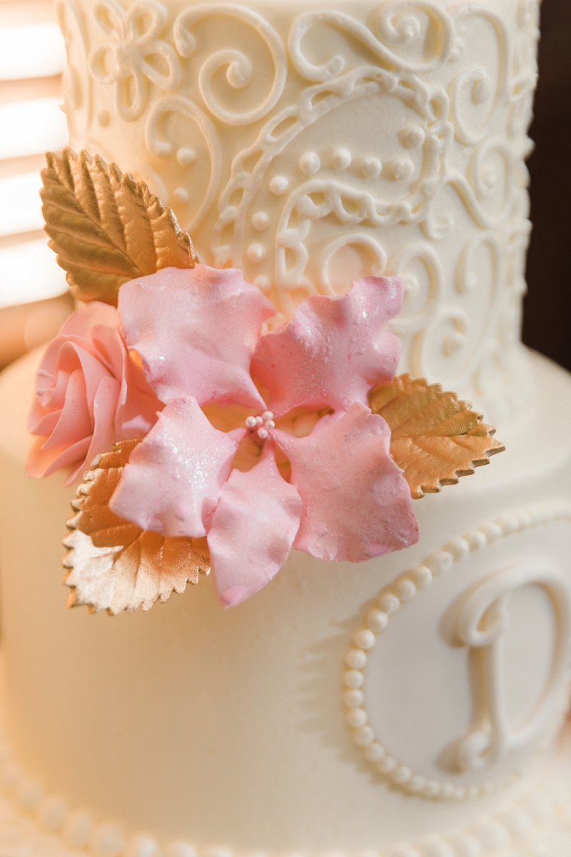 Pink and gold sugar flowers for chic and classic white tiered wedding cake