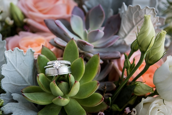 Platinum white gold wedding rings on succulents
