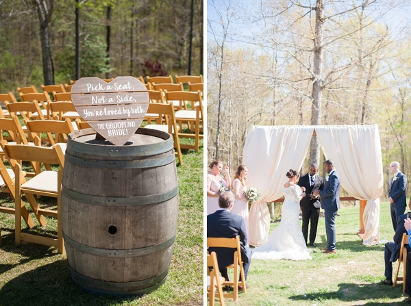Rustic winery wedding ceremony with wine barrels and wooden sign