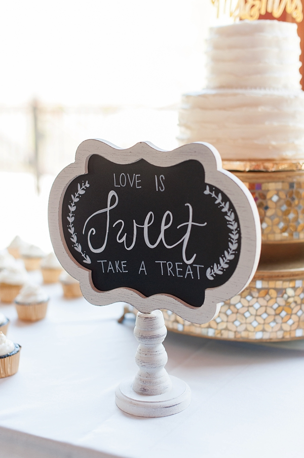 Love Is Sweet Take a Treat chalkboard sign for wedding cake table