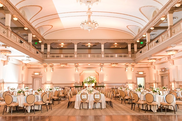 Classic pink and gold ballroom wedding reception setup