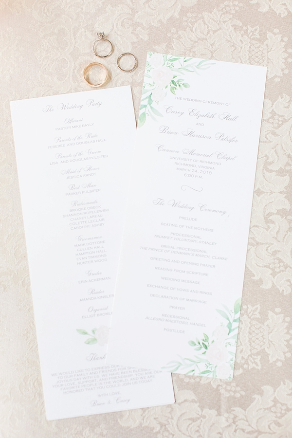 Classic wedding program with watercolor details