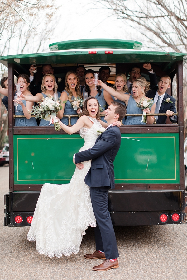 Richmond Virginia wedding party with a fun green trolley