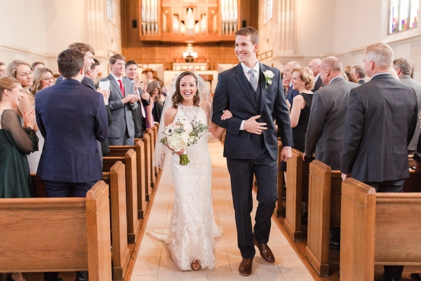 Bride and groom at University of Richmond chapel