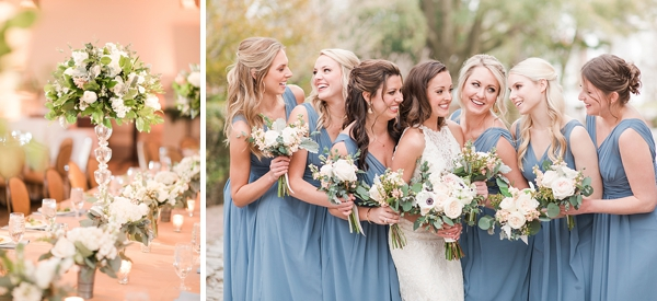 Blue bridesmaid dresses for classic wedding