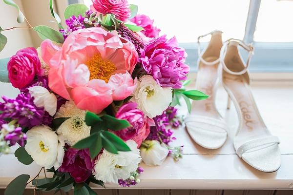 Big pink peonies for summer wedding bouquet