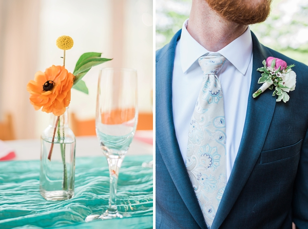 Simple colorful wedding boutonniere with ranunculus