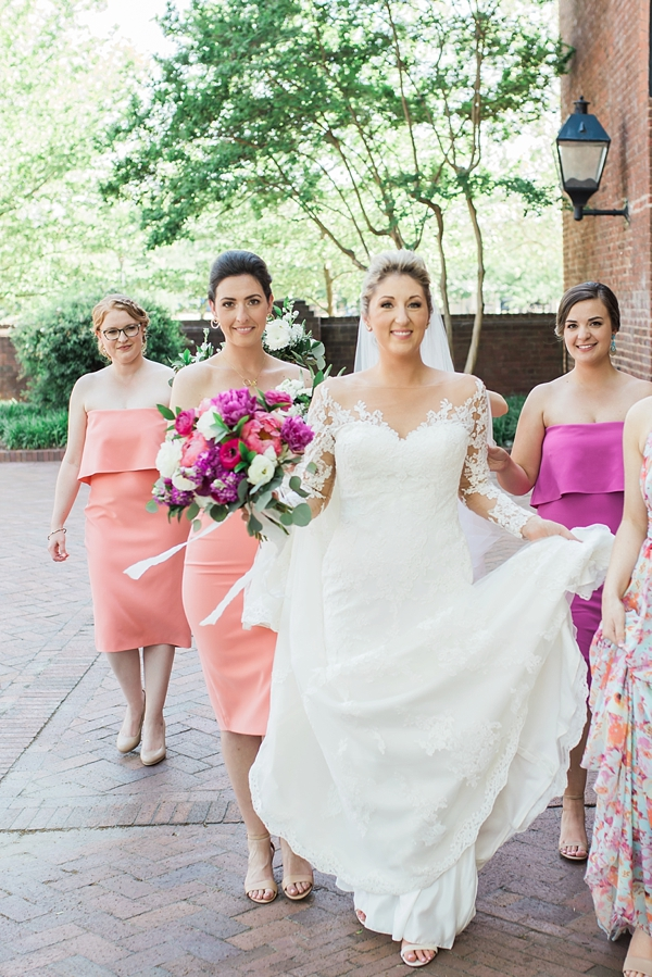 Colorful summer wedding with bright bridesmaid dresses