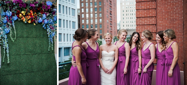 Bridesmaids in fuchsia colored dresses