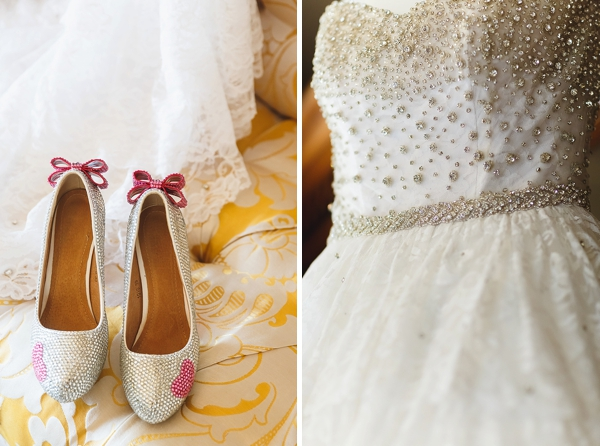 Sparkly pink wedding shoes with hearts and bows