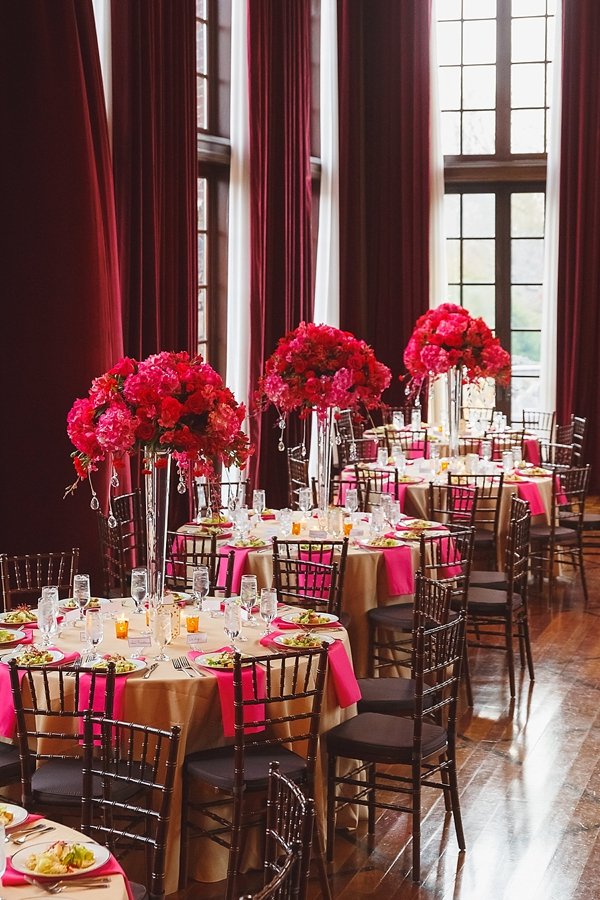 Bright pink luxe wedding flower centerpieces with crystals