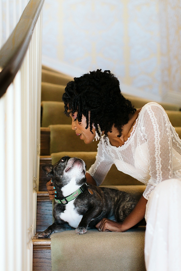 Bride and her sweet Frenchie pup on the wedding day