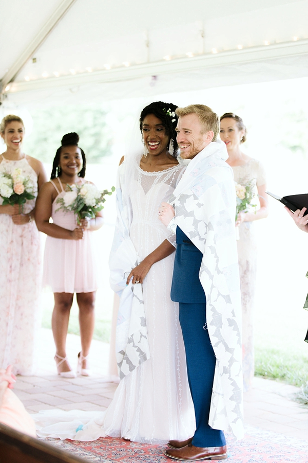 Wedding shawl ceremony tradition with beautiful quilted fabric