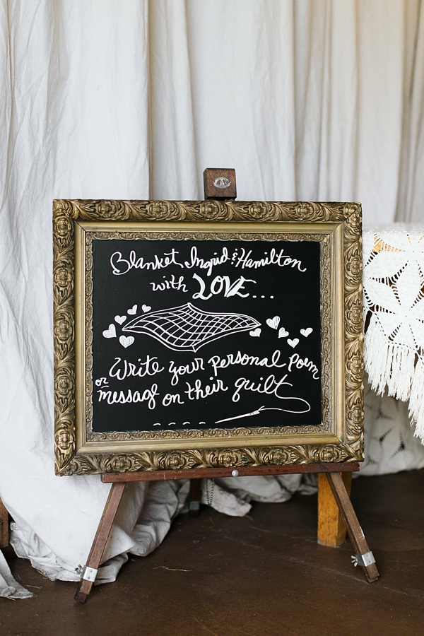 Unique quilt blanket wedding guest book idea for guests to write a poem or message