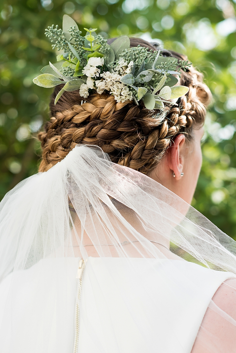 Lovely handmade garden inspired hairpiece made with seeded eucalyptus and dried flowers