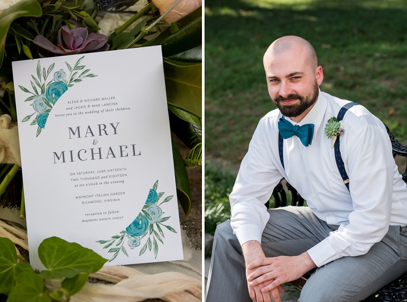 Teal bow tie and succulent boutonniere for garden inspired wedding groom