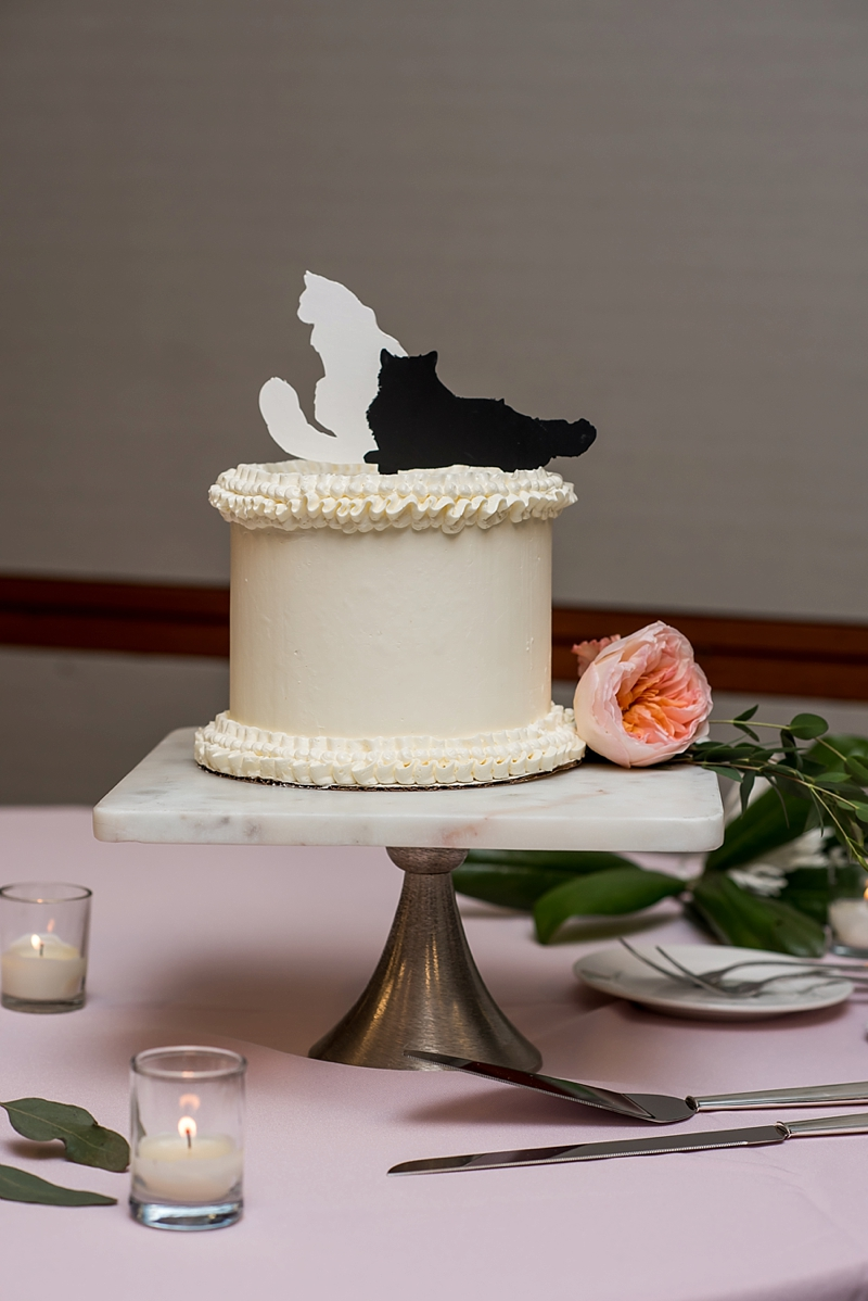 Petite wedding cake with adorable cat cake toppers