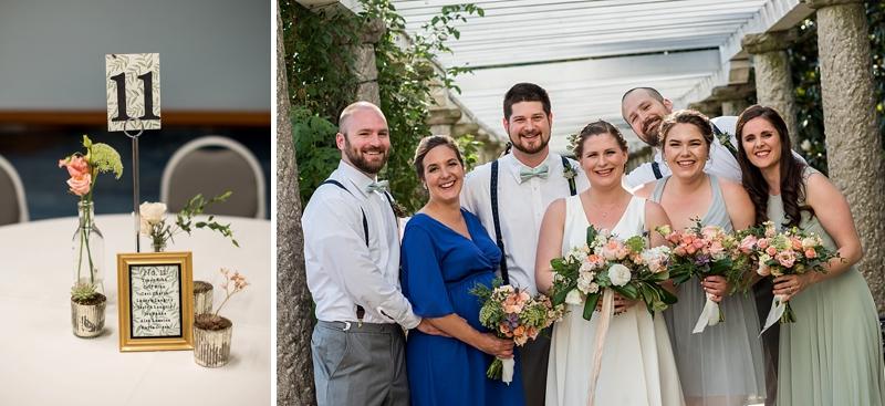 Bridesmaids in sage green dresses for garden wedding