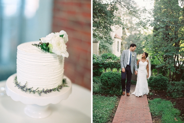 Small white wedding cake with lavender