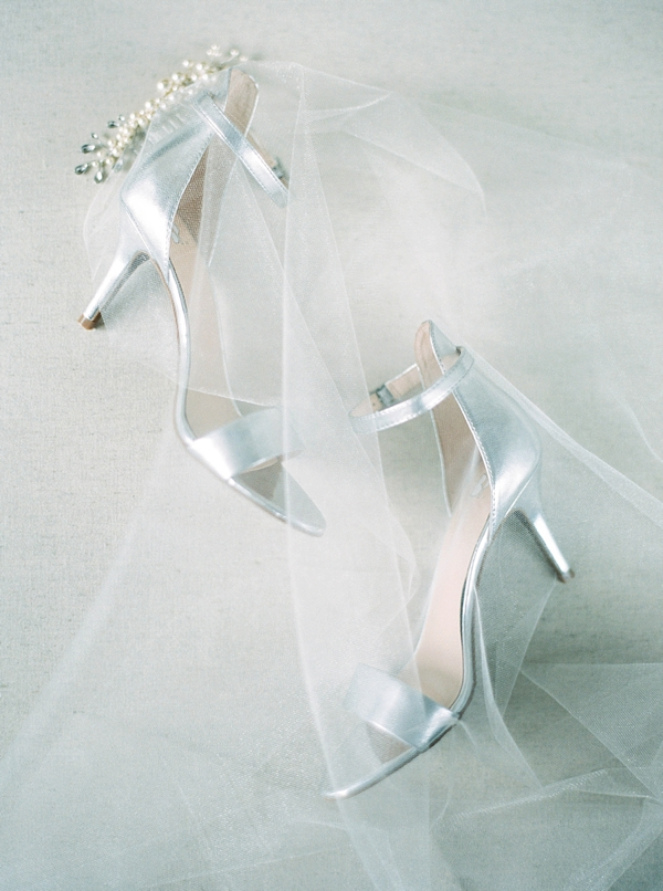 Silver bridal heels with veil