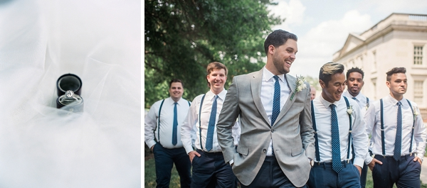Groomsmen in navy blue polka dot neckties