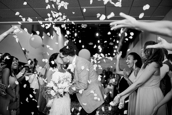 Confetti toss for newlyweds