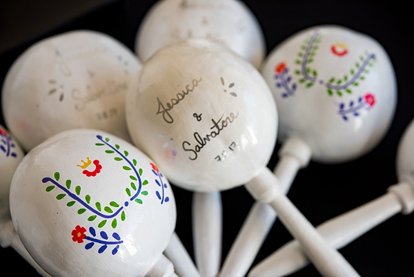 Personalized white wedding maracas