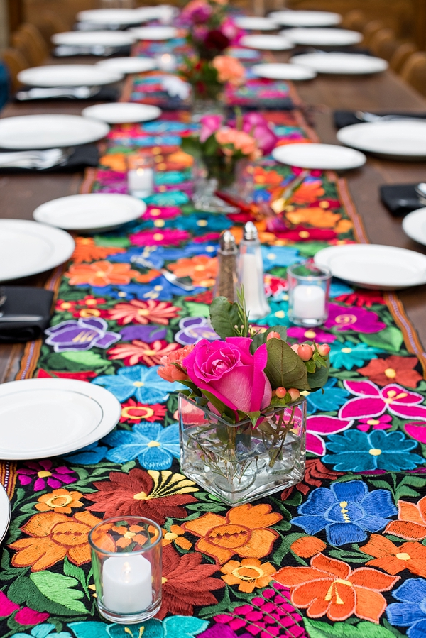 Colorful Mexican embroidered wedding table runner