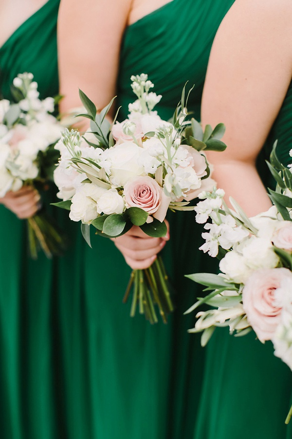 Simple white and pink bridesmaid bouquets