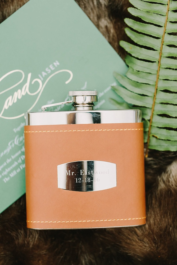 Cool groom gift idea of leather engraved flask