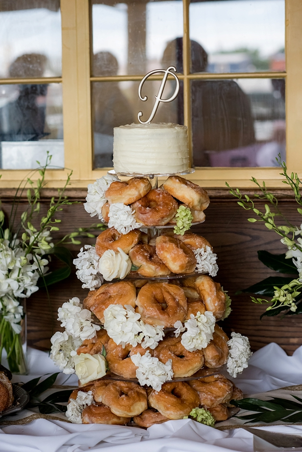 Glazed donut tower for wedding cake alternative