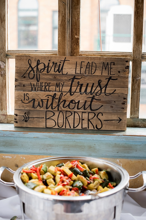 Rustic Trust Without Borders wooden wedding sign