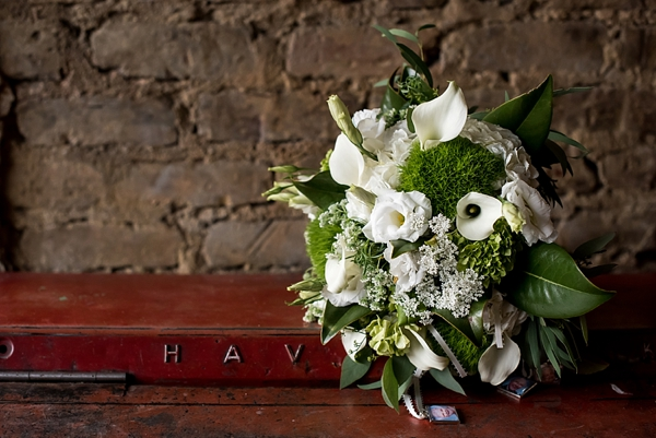 Classic modern bouquet with calla lilies and green trick