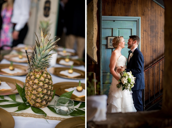 Pineapple centerpieces for tropical wedding