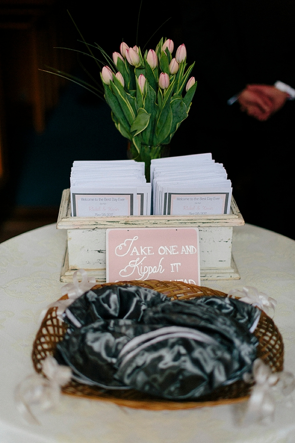 Adorable Jewish wedding sign for kippahs