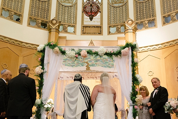 Jewish wedding ceremony with hand painted chuppah