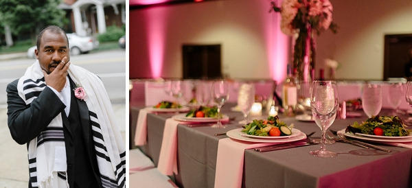 Pink and gray wedding reception table linens