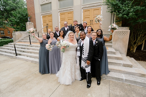 Jewish wedding party in gray and black in Richmond Virginia