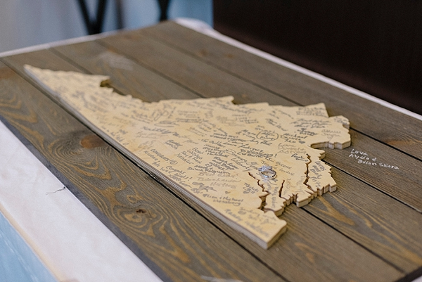 Wooden Virginia state cutout for wedding guestbook and keepsake