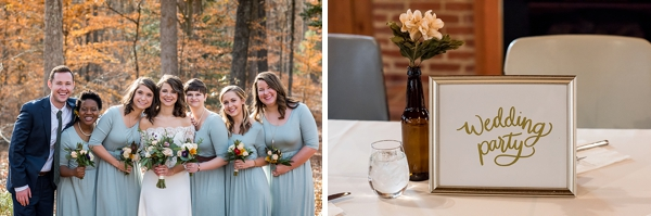 Bridesmaids in jersey dresses for casual fall wedding