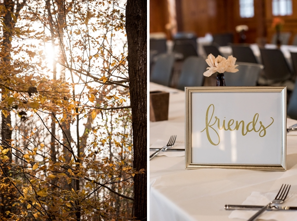 Handmade gold calligraphy sign for wedding table