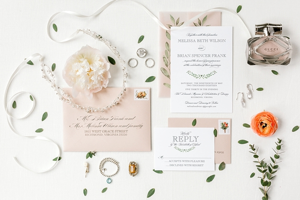 Pink vintage classic inspired wedding invitation suite with greenery details